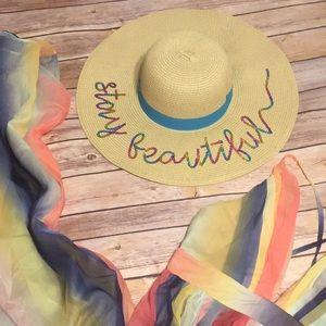 "Accessories - 🌸 ""STAY BEAUTIFUL"" Straw Floppy Hat 🌸"